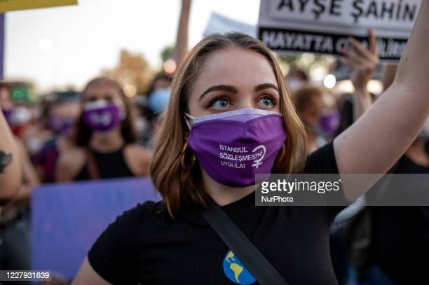 Women wearing protective face masks seen during a protest against the recent femicides and violence against women in Istanbul Turkey on August 5 2020...