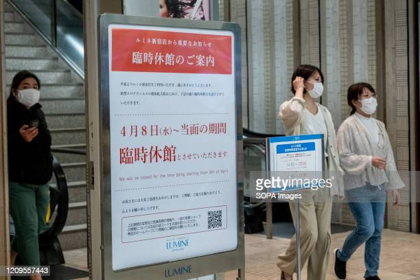Women wearing protective masks inside a shopping mall during the state of emergency over the growing spread of COVID-19 in Tokyo. The Japan...