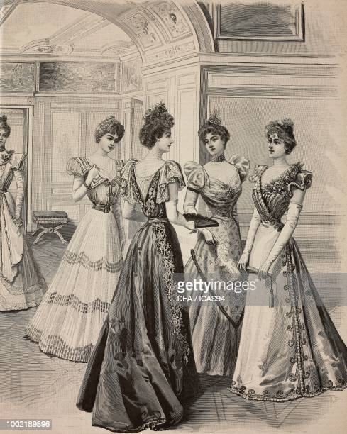 Women wearing silk muslin crepe de chine and bengalina dresses with lace and embroidery decoration engraving from La Mode Illustree No 51 December 19...