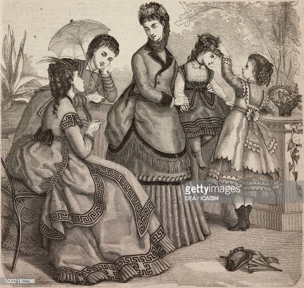 Women wearing spring dresses and girls' dresses for ages 48 Madame Fladry designs France coloured engraving from La Mode Illustree No 22 May 29 1870