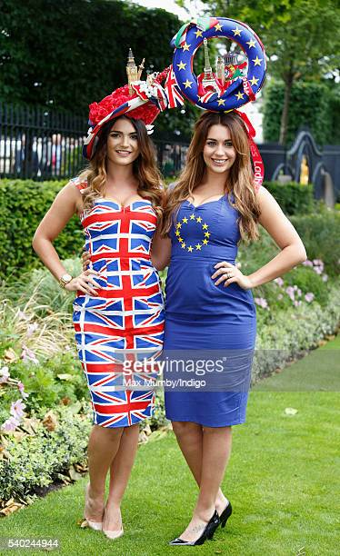 Women wearing Union Flag and European Union design dresses and hats attend day 1 of Royal Ascot at Ascot Racecourse on June 14 2016 in Ascot England