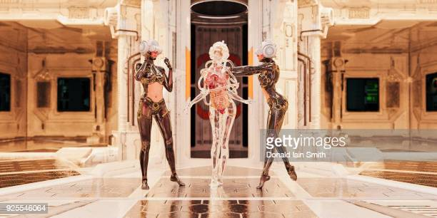 women wearing virtual reality goggles dancing in ballroom - darstellender künstler stock-fotos und bilder