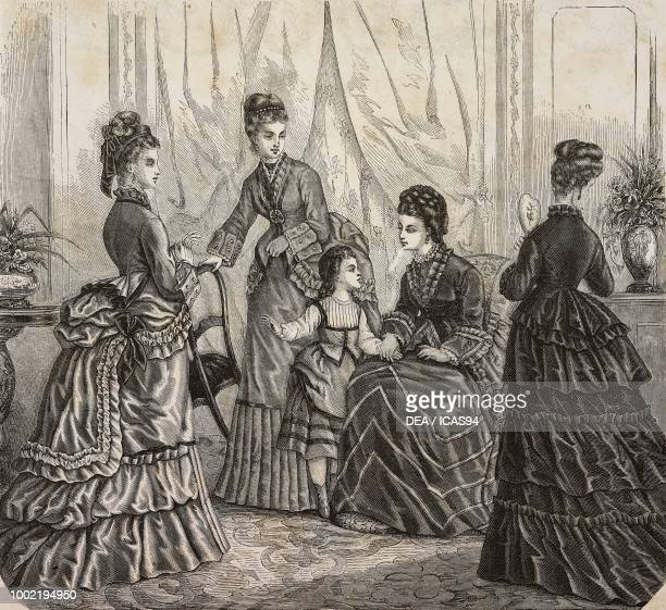 Women wearing walking and day dresses Madame Maury designs France engraving from La Mode Illustree No 49 December 14 1873