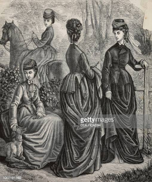Women wearing wool and mohair riding clothes Madame Maury designs engraving from La Mode Illustree No 23 June 8 1873