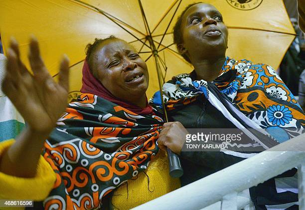 Women weep in joy after seeing their relatives among survivors of an attack by islamist gunmen claimed by alShabab on a university campus in Garissa...