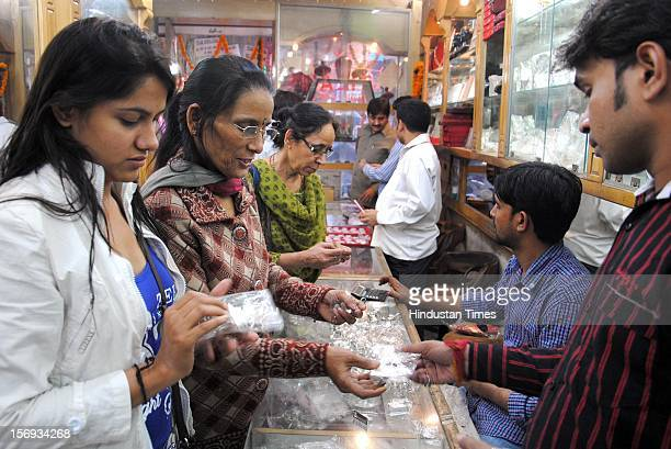 Women were seen in numbers at Jewellery shops on the eve of Diwali, on November 11, 2012 in Noida, India.