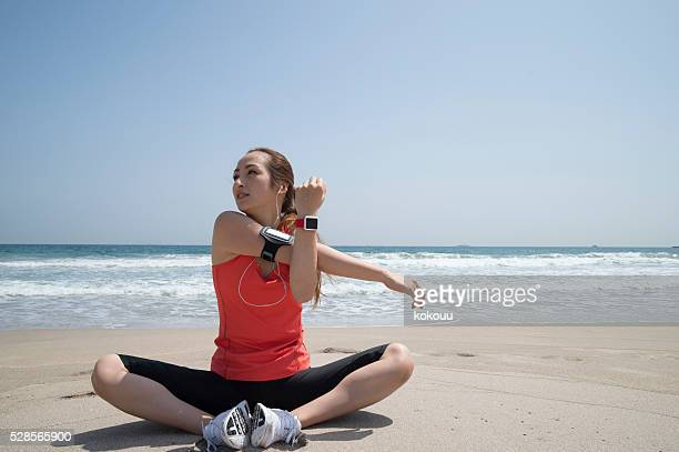 Women who are training at the seaside