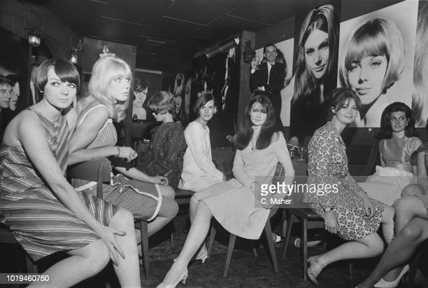Women whose pictures decorate the walls at the 'Darkroom' nightclub attending a party UK 14th July 1965 they are Ann Norman Brigit Monks Joanna...