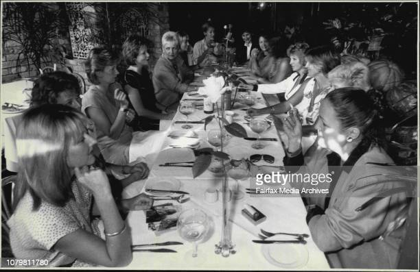 14 women wine writers sitting around a table at 'Eliza's' restaurantLeft to right Karen Hunter Sam Lawrence Kerry Reid Karen Macalister Robin Thom...