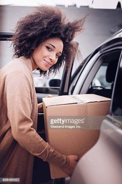 Women with box