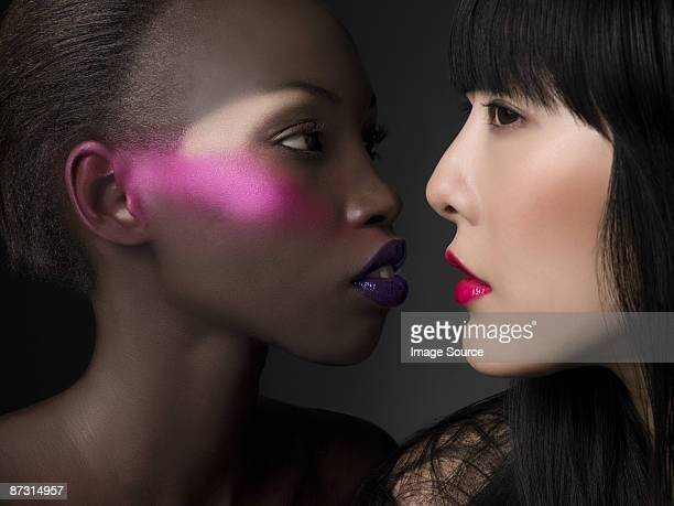 women with bright makeup - asian model stock photos and pictures