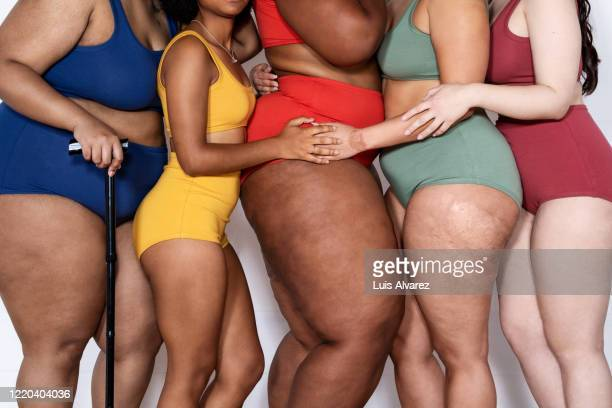 women with different body type together in lingerie - celulitis fotografías e imágenes de stock
