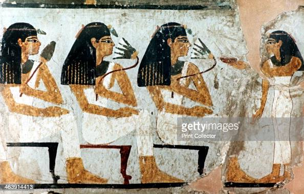 Women With Flowers And Lotus 18th Dynasty Fragment Of