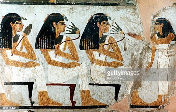 Women with Flowers and Lotus 18th Dynasty Fragment of wall painting in Egyptian tomb Egypt Museum Berlin