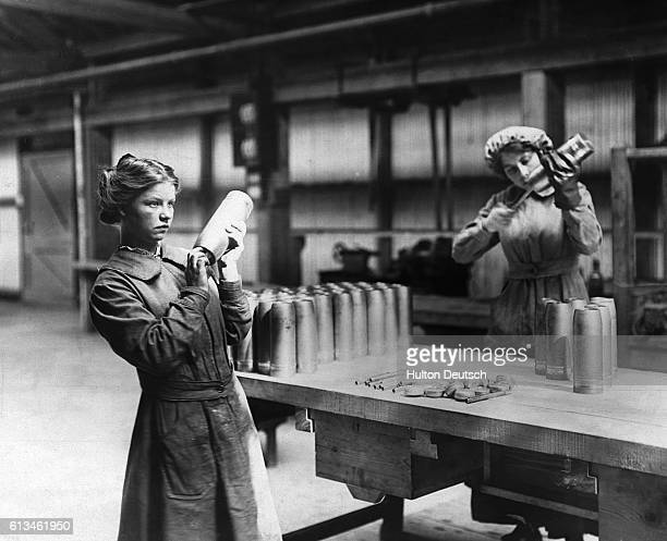 Women workers at Vickers Ltd. Making shells, probably during the First World War.