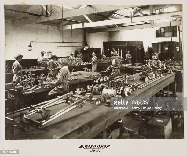 Women workers in the brass shop at Doncaster works The women are making brass fittings for carriages Until the labour shortages of the First World...