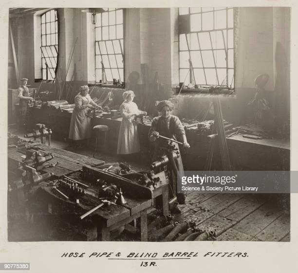 Women workers making barrels and hose pipes at Doncaster works At this time there were fewer women working on the railways than men and they were on...