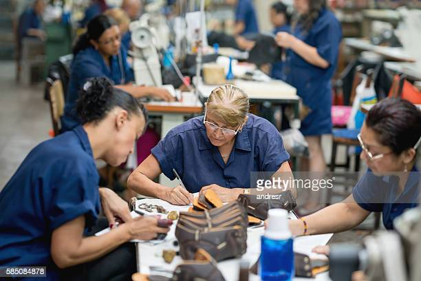 Women working at a shoe-making factory