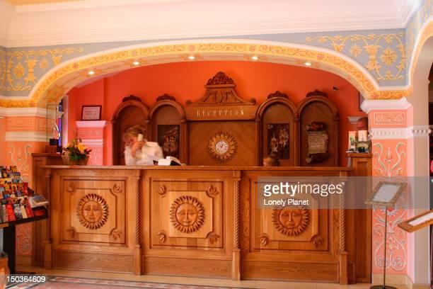 Women working at reception of Sretenskaya Hotel.