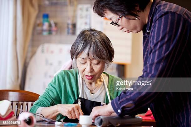women working at studio