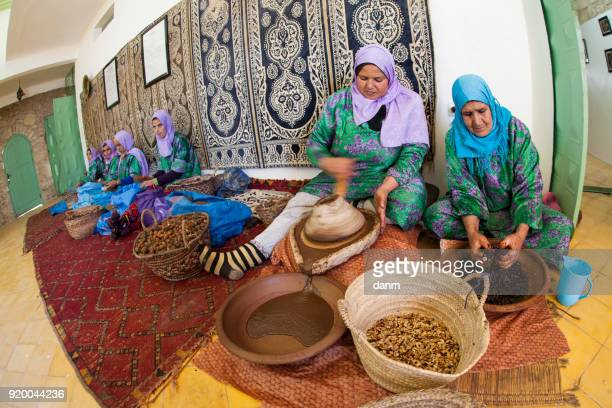 women working in a cooperative for the manufacturing of argan fruits in Essaouira