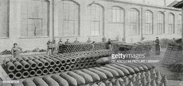 Women working in a munitions factory Italy World War I from L'Illustrazione Italiana Year XLIV No 20 May 20 1917