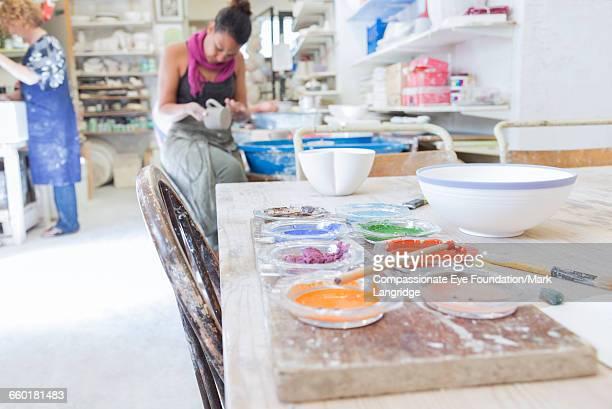 Women working in pottery studio