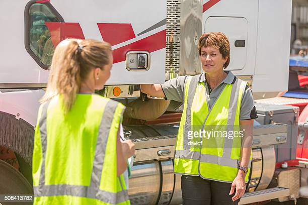 Women Working in the Transport Industry Wearing Hi-Vis Clothes