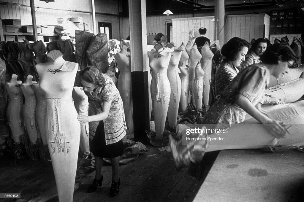 Women working on mannequins at the Twifit Corset Factory, Portsmouth. Original Publication: Picture Post - 202 - Portsmouth - pub. 1939