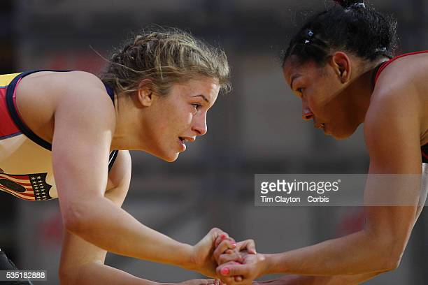 Women wrestlers Helen Maroulis USA in action against Marcia Andrades Venezuela during the 'Beat The Streets' USA Vs The World International...