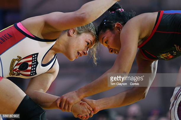 Women wrestlers Helen Maroulis, , USA, in action against Marcia Andrades, Venezuela, during the 'Beat The Streets' USA Vs The World, International...