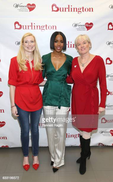 WomenHeart Champion Starr DeEllen Mirza, Grammy award-winning recording artist and heart health advocate Kelly Rowland, and CEO of WomenHeart: The...