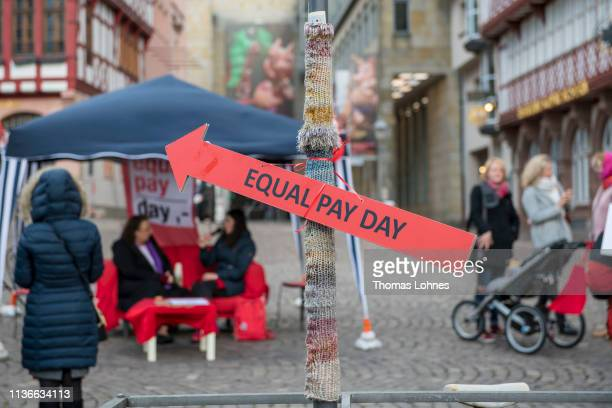 Womenprotest to demand equal pay for women on Equal Pay Day on March 18, 2019 in Frankfurt, Germany. Women in Germany earn on average less than men...