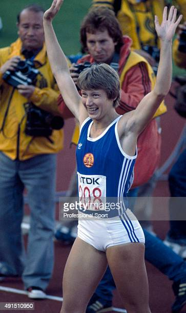 Women's 100 metres hurdles gold medallist Bettine Jahn of East Germany during the World Athletics Championships in Helsinki Finland circa August 1983