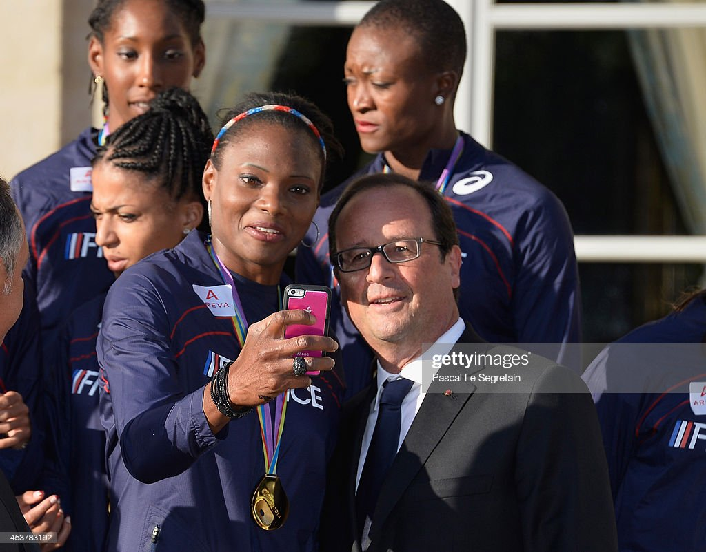 President Francois Hollande Hosts France Athletics Team At Elysee Palace