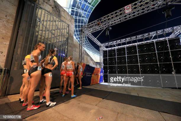 Women's 4x400m teams leave the call room ahead of their final race during day five of the 24th European Athletics Championships at Olympiastadion on...