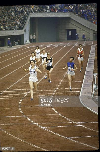 Women's 800 meter finals Ann Packer of Britain wins the gold medal at Summer Olympics.