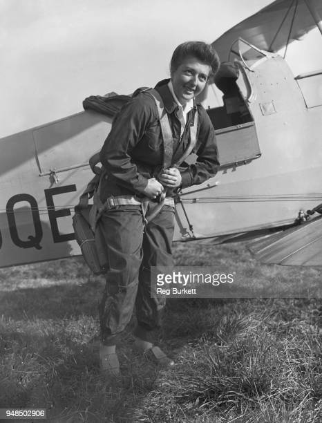 Women's Auxiliary Air Force pilot Margot Gore preparing for a flight in a Tiger Moth II biplane after being the first recruit to sign up earlier the...