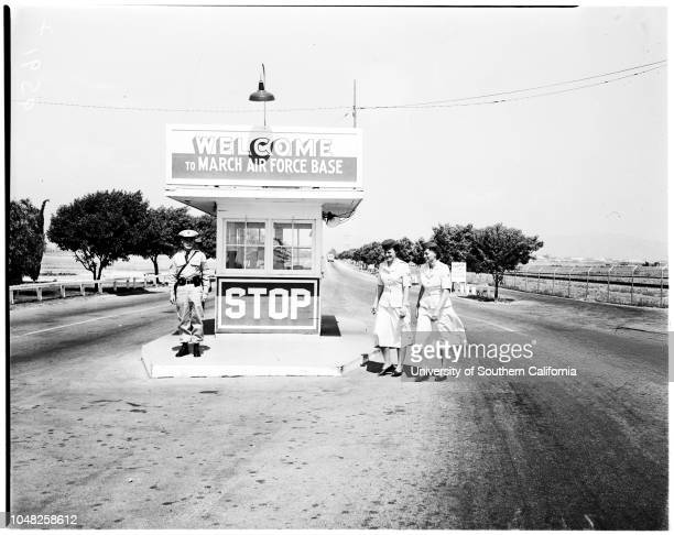 Women's Auxiliary Ferrying Squadron, March Air Force Base, 26 May 1952. Shirley Golden ;Julia Petrillo ;Bill Robardo ;Sally Caldwell ;Hattie Kirk --...