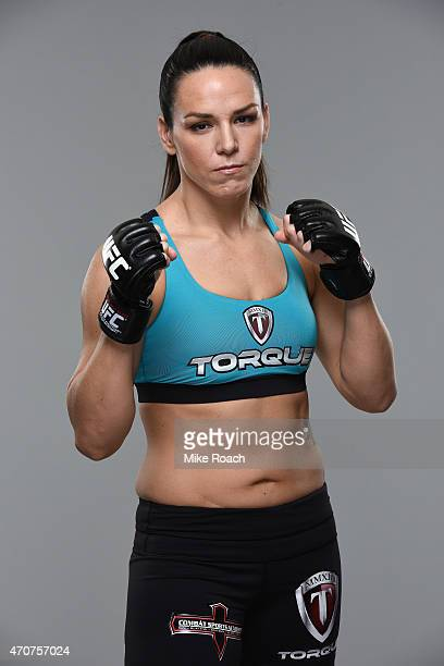 UFC women's bantamweight Alexis Davis poses for a portrait during a UFC photo session on April 22 2015 in Montreal Quebec Canada