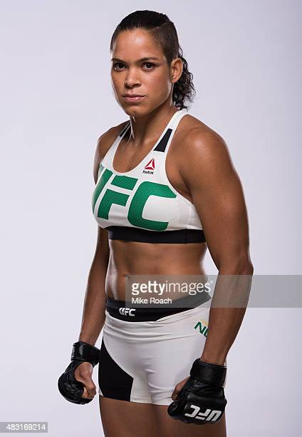 UFC women's bantamweight Amanda Nunes poses for a portrait during a UFC photo session on August 4 2015 in Nashville Tennessee