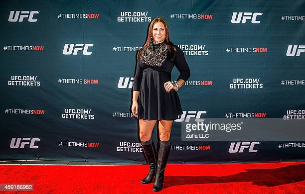 UFC women's bantamweight Cat Zingano arrives at the UFC Time Is Now press conference at The Smith Center for the Performing Arts on November 17 2014...