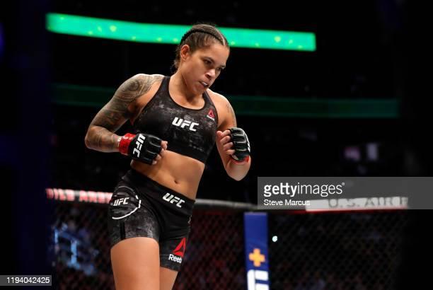 Women's bantamweight champion Amanda Nunes enters the Octagon for a title defense against Germaine de Ranamie during UFC 245 at T-Mobile Arena on...