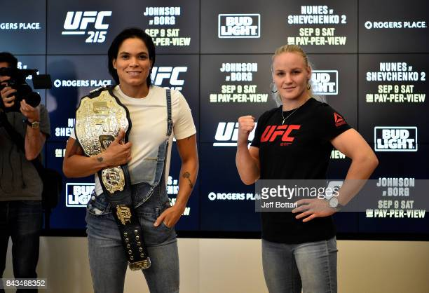 UFC women's bantamweight champion Amanda Nunes of Brazil and Valentina Shevchenko of Kyrgyzstan pose for the media during the UFC 215 Ultimate Media...
