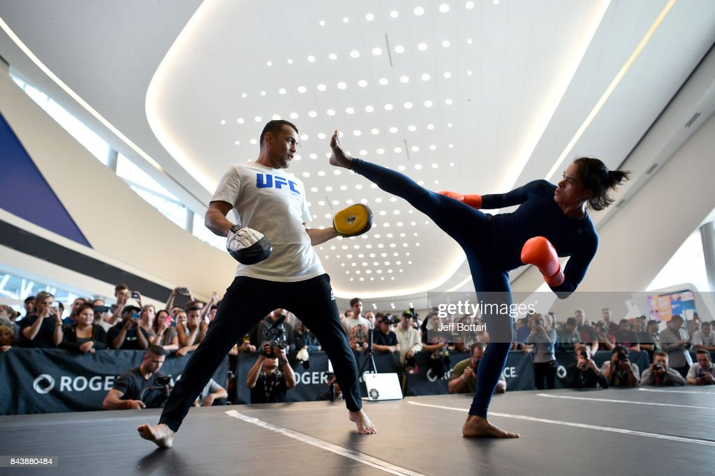 UFC women's bantamweight champion Amanda Nunes of Brazil holds an open workout session for fans and media at Rogers Place on September 7, 2017 in Edmonton, Alberta, Canada.