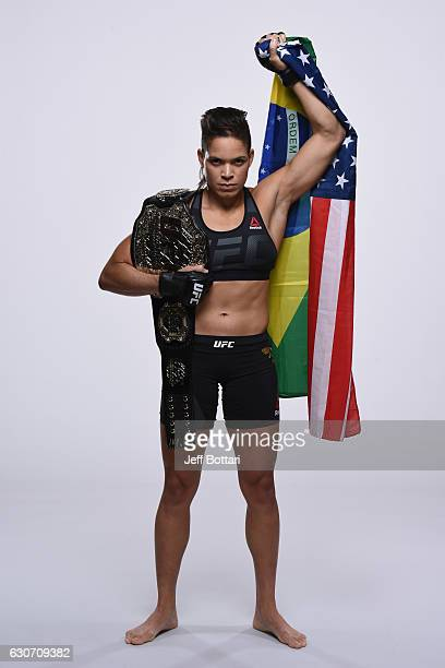 UFC women's bantamweight champion Amanda Nunes of Brazil poses for a portrait during a UFC photo session inside the MGM Grand Conference Center on...