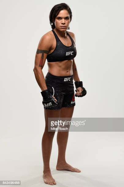 UFC women's bantamweight champion Amanda Nunes of Brazil poses for a portrait during a UFC photo session on September 6 2017 in Edmonton Alberta...