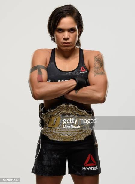 UFC women's bantamweight champion Amanda Nunes of Brazil poses for a portrait during a UFC photo session on September 6 2017 in Edmonton Alberta...