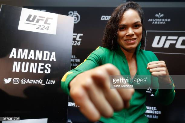 UFC women's bantamweight champion Amanda Nunes of Brazil poses for a photo during Ultimate Media Day on May 10 2018 in Rio de Janeiro Brazil