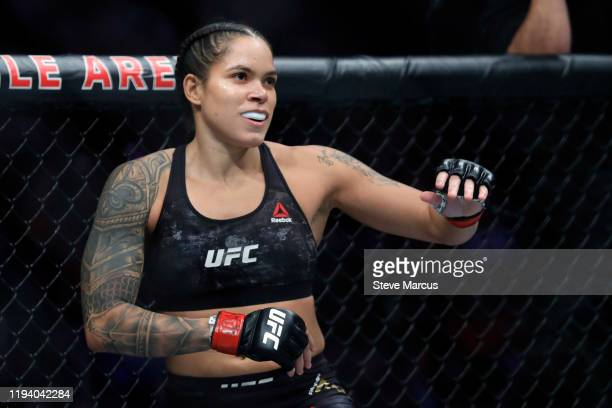 Women's bantamweight champion Amanda Nunes prepares for a title defense against Germaine de Ranamie during UFC 245 at T-Mobile Arena on December 14,...